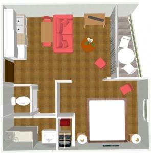 Plan d'un appartement de la Résidence des Chênes de Saint-Paul-lès-Dax