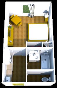 Plan des studios du Brit Hôtel du Lac de Saint-Paul-lès-Dax