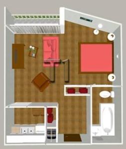 Plan des T1 de l'Hôtel-Résidence Régina de Dax