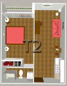 Plan des T2 de l'Hôtel-Résidence Régina de Dax